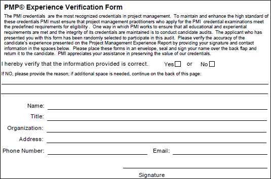 PMP Experience Verification Form