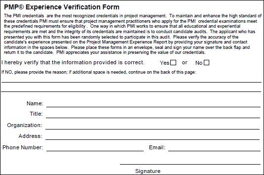 PMP Experience Verification Form