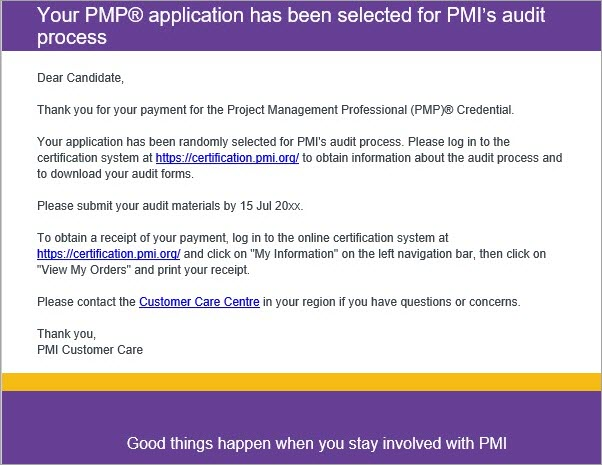 E-mail de auditoria PMP