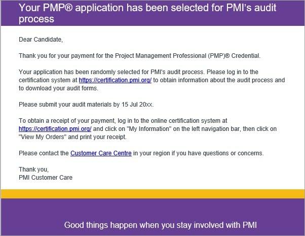 E-mail de auditoria PMP